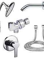 Modern/Comtemporary Shower Only Rain Shower Handshower Included with  Ceramic Valve Two Holes for  Chrome , Shower Faucet