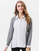 Women's Going out Work Simple Sophisticated All Seasons Shirt,Color Block Shirt Collar Long Sleeve Rayon