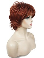New Short Layered Shaggy Copper Red Full Synthetic Wigs Women's Wig