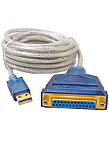 USB 2.0 Cabo adaptador, USB 2.0 to DB25 Cabo adaptador Macho-Fêmea 3,0M (10Ft)