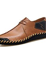 Для мужчин Туфли на шнуровке Удобная обувь Весна Осень Кожа Повседневные Комбинация материалов На плоской подошве Черный Коричневый