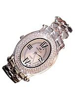 Жен. Модные часы Часы со стразами Кварцевый Нержавеющая сталь Группа Повседневная Серебристый металл