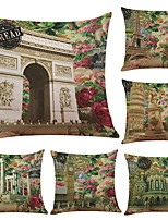 Set of 6 France Eiffel Arc De Triomphe Linen Cushion Cover Home Office Sofa Square Pillow Case Decorative Cushion Covers Pillowcases (18*18Inch)