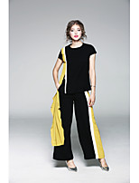 JOJO HANS  Women's Casual/Daily Sophisticated Spring T-shirt Pant SuitsPrint U Neck  Length Sleeve