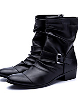 Men's Boots Summer Fall Leather Casual Outdoor Zipper Flat Heel Black  Fashion Boots