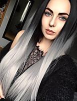 жен. Парики из искусственных волос Лента спереди Длиный Прямые Серый Волосы с окрашиванием омбре Парик из натуральных волос Карнавальные