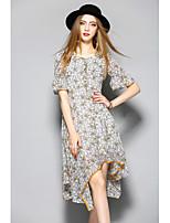 Для женщин На каждый день Оболочка Платье Цветочный принт,Круглый вырез До колена Рукав до локтя Полиэстер Лето Со стандартной талией
