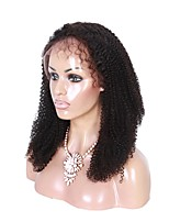 Glueless Lace Front Human Hair Wigs Unprocessed Virgin Brazilian Hair Black Color Afro Curly  Lace Wig For Black Women