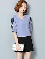 Для женщин На каждый день Лето Блуза V-образный вырез,Простое С принтом С короткими рукавами,Другое