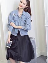 Feminino Jaqueta jeans Para Noite Simples Inverno,Sólido Curto Poliéster Colarinho de Camisa Manga Longa