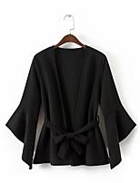 Для женщин На выход На каждый день Лето Рубашка V-образный вырез,Секси Простое Уличный стиль Однотонный Длинный рукав,Хлопок Акрил