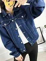 Feminino Jaqueta jeans Esportes Para Noite Casual Simples Activo Moda de Rua Primavera Outono,Sólido Padrão Algodão Colarinho de Camisa