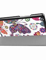 Padrão de pintura caixa de couro de três vezes com suporte para huawei mediapad m3 8,4 polegadas tablet pc
