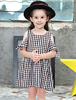Girl's Cotton Fashion And Lovely Pure Shoulder Circular Collar Small Square Leisure Princess Dress