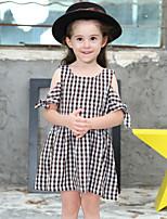 Девичий Платье Хлопок Шахматка Лето С короткими рукавами