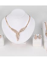 Femme Collier Bracelet Bague Imitation de diamant Simple Style Classique Imitation Diamant Forme de Feuille PourMariage Soirée