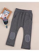 Pantalones Chico A Rayas Un Color Algodón Otoño