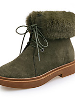 Women's Boots Combat Boots Fall Winter Nubuck leather Walking Shoes Casual Lace-up Chunky Heel Black Army Green 1in-1 3/4in