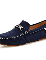 Men's Loafers & Slip-Ons Moccasin Fall Winter Suede Casual Party & Evening Black Gray Blue Khaki Flat