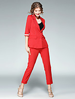 Women's Work Street chic Fall Shirt Pant Suits,Striped Peter Pan Collar ¾ Sleeve Inelastic