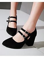 Для женщин Обувь на каблуках Удобная обувь Весна Лето Полиуретан Повседневные Черный Серый Красный 4,5 - 7 см