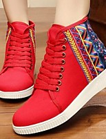 Women's Shoes Fabric Spring Comfort Sneakers For Casual Black Red Blue