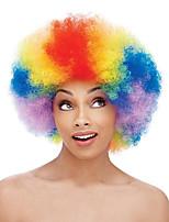 Perucas sintéticas Sem Touca Médio Enrolado Arco-Íris Peruca Afro Americanas Para Mulheres Negras Peruca para Cosplay Perucas para