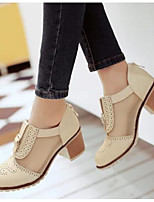 Women's Heels Comfort Summer PU Casual Black Beige Blushing Pink 2in-2 3/4in