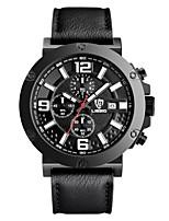 LIEBIG Hombre Reloj Militar Reloj de Pulsera Cuarzo Calendario Cronómetro Piel Banda Negro