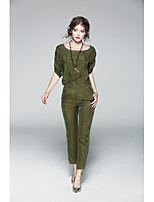 JOJO HANS Women's Casual/Daily Simple Fall T-shirt Pant SuitsSolid Round Neck Short Sleeve
