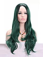 Pelucas sintéticas Sin Tapa Medio Ondulado Verde Para mujeres de color Peluca afroamericana Peluca de cosplay Las pelucas del traje