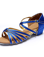 Women's Latin Silk Flats Indoor Buckle Customized Heel Blue Customizable