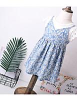 Girl's Floral Dress,Cotton Summer Sleeveless