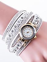 Жен. Модные часы Наручные часы Часы-браслет Часы со стразами Китайский Кварцевый Кожа PU Группа Повседневная Креатив Люкс Черный Белый