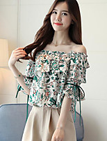 Women's Going out Casual/Daily Simple Summer Blouse,Floral Boat Neck Short Sleeve Cotton
