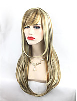 Highlight Brwon Blonde Mixed Color Party Club Wig Sexy Beauty Looking High Quality Heat Resistant Long Length Synthetic Wigs
