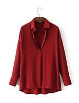 Для женщин На выход На каждый день Весна Осень Рубашка Рубашечный воротник,Секси Простое Уличный стиль Однотонный Длинный рукав,Хлопок,