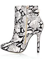 Damen Stiefel Stiefeletten PU Herbst Winter Kleid Party & Festivität Schwarz/weiss 12 cm & mehr