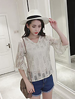 Women's Casual/Daily Simple Summer T-shirt,Print V Neck 3/4 Length Sleeve Others
