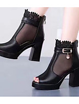 Для женщин Обувь на каблуках Удобная обувь Лето Синтетика Повседневные Черный 7 - 9,5 см