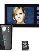 7 pouces hd enregistrement vidéo porte téléphone interphone sonnette avec 8g tf carte touche bouton déverrouillage à distance vision