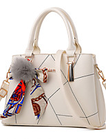 Women Bags All Seasons PU Tote with Zipper for Casual Outdoor Office & Career White Black Red Blushing Pink Navy Blue