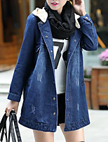 Women's Plus Size Casual/Daily Simple Fall Denim Jacket,Solid Hooded Long Sleeve Long Others