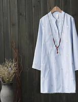 Для женщин На выход На каждый день Лето Осень Рубашка Круглый вырез,Простое Очаровательный Уличный стиль Однотонный Вышивка Длинный рукав,