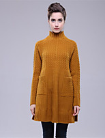 Для женщин На каждый день Простое Обычный Пуловер Однотонный,Круглый вырез Длинный рукав Шерсть Полиэстер Осень Зима Средняя