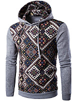 Men's Sports Going out Casual/Daily Boho Hoodie Color Block Stripe Hooded Micro-elastic Polyester Long Sleeve Fall Winter