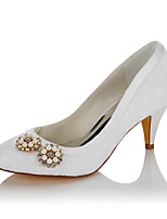 Women's Wedding Shoes Comfort Satin Fall Winter Wedding Party & Evening Dress Comfort Imitation Pearl Cone Heel White 2in-2 3/4in