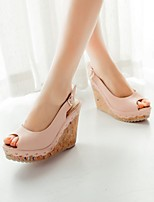 Women's Shoes PU Summer Comfort Heels Wedge Heel Peep Toe With For Casual White Blue Blushing Pink