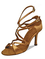 Women's Latin Silk Sandals Performance Crystals/Rhinestones Stiletto Heel Brown Black 3