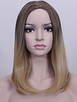 Popular Ombre Brown Blonde  Middel Long Straight Hair European Synthetic Wigs For Women Wig